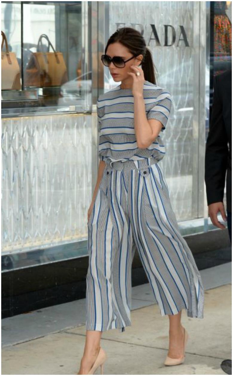 Victoria Beckham grey stripe jumpsuit