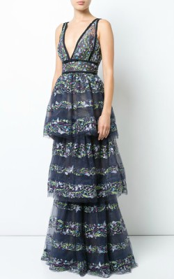 Farfetch Marchesa Notte butterfly embroidery layered gown - $1,195 - full length silver gown