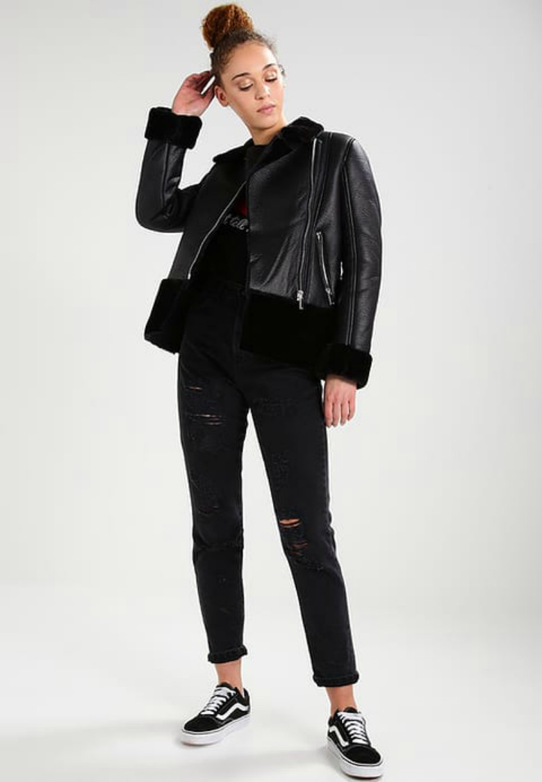 SHEARLING BIKER - Faux leather jacket