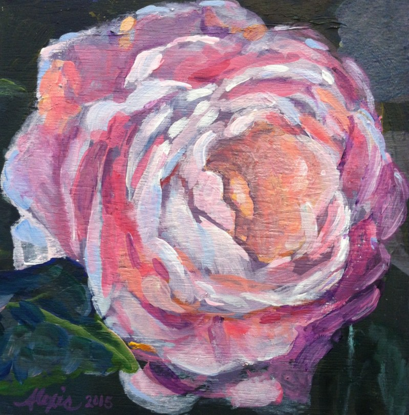 Close-up square painting of a peony flower