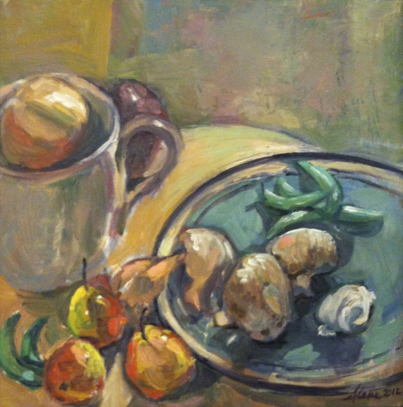 A square still-life painting of vegetables and fruits.