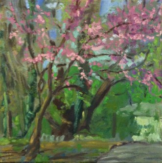 Painting of a blooming red bud tree along a path through the woods
