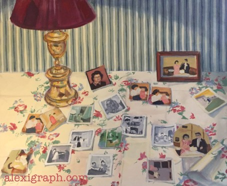 Still life painting of photos arranged on a tabletop
