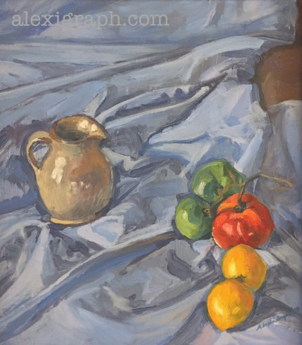 Oil painting of a cluster of tomatoes at different stages of ripeness and a small ceramic pitcher on a rumpled blue tablecloth
