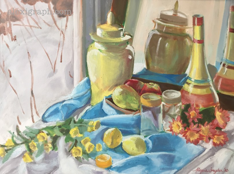 Oil painting of still life in yellow and turquoise
