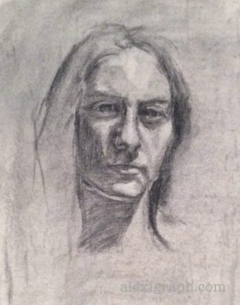Charcoal portrait sketch of a young woman