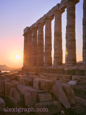 Sun setting next to an Ancient Greek temple to Poseidon
