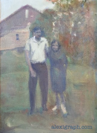 Painting of the author's parents posing in front of a barn