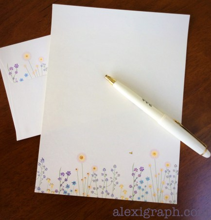 Embellished stationary, matching envelope, and a pen, perfect for writing a letter