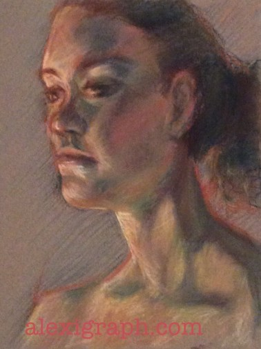 Pastel drawing of a woman in three-quarter profile view
