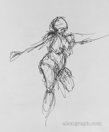 Ink sketch of dancing woman