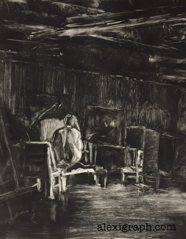 Black and white monotype print of a figure from the back crouched ina large room
