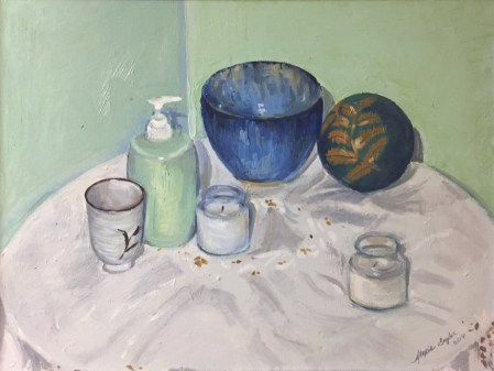 Still life painting of candles, soap dispenser, bowls