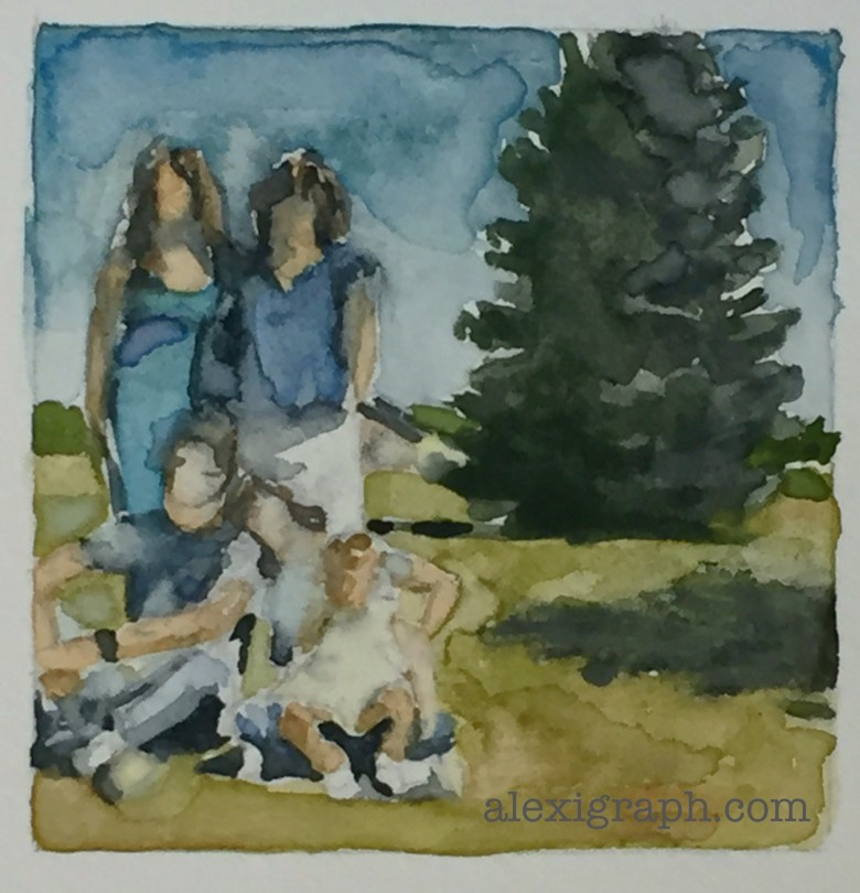 Watercolor painting of 4 adults and a child posing for a snapshot