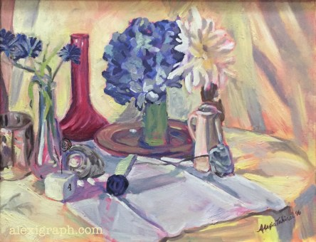 Still life painting with vases, flowers, and table card holder