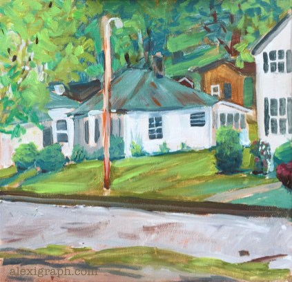 Painting of houses along railroad tracks