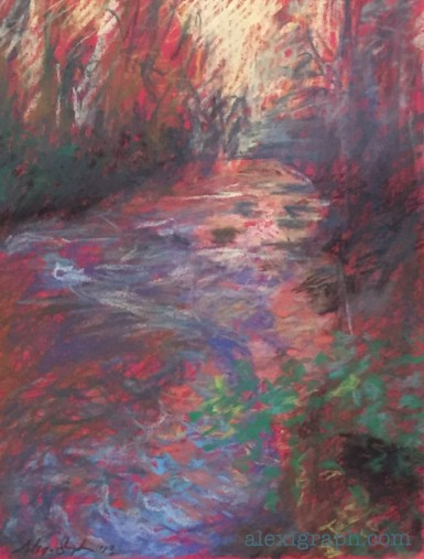 Loose pastel drawing of a creek in late-day light