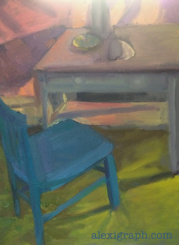 Painting of a blue chair and a writing desk