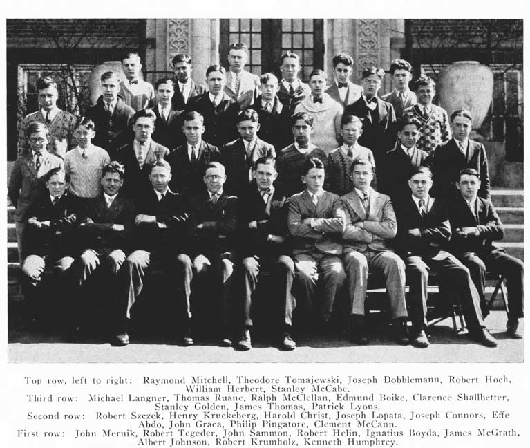 DeLaSalle, 1928 - Stanley, 2nd row from the top, wearing a white sweater and bow tie. Golden Family Treasure | Alex Inspired