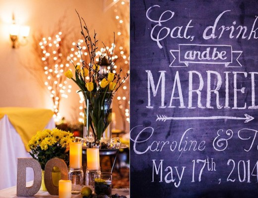 """Eat, Drink and be Married"" Chalkboard displayed by ""I do"" gold lettering at the reception - Photo Credit Maria Maria Photography"