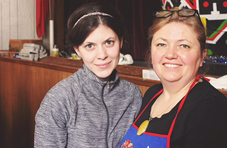 Lovely Pysanky Mother-daughter volunteers, Andrea and Marika | Alex Inspired