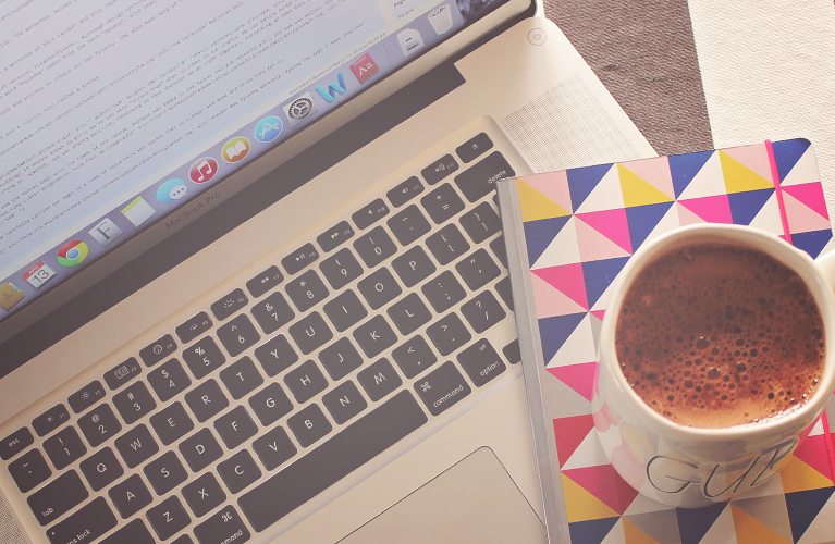 Is your Blog Accessible!? (Laptop, coffee and notebook on desk)   Alex Inspired