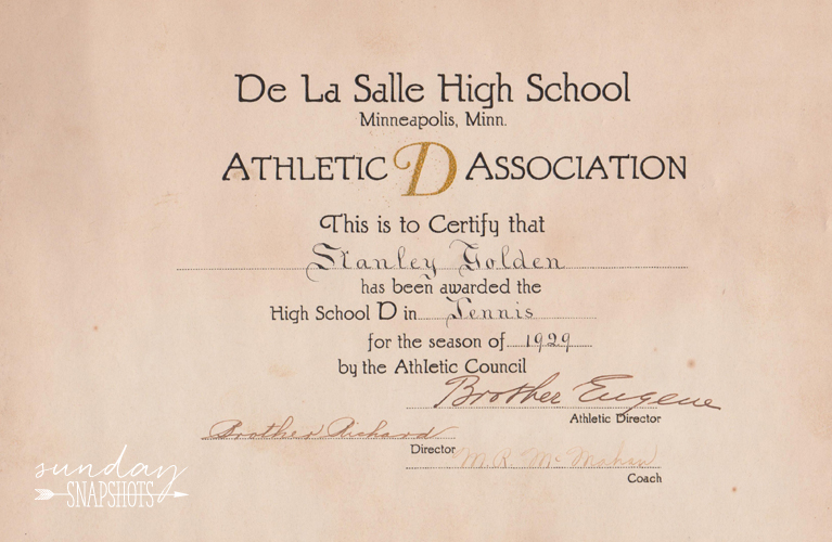 "DeLaSalle High School, Tennis certificate: ""Athletic D Assocoation"" for Stanley Golden, 1929 from the Athletic Council, signed by Brother Eugene, Brother Richard and Director M.R. McMahan 