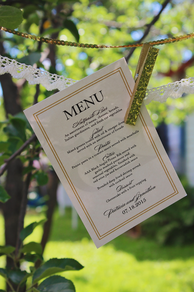 Tricia & JJ Custom wedding designs for tables, menus and donation card.