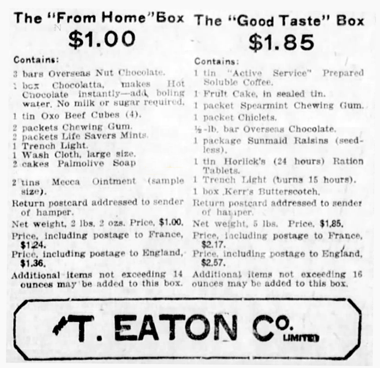 victory boxes for the great war to be Purchased at Eaton's Stores   Alex Inspired