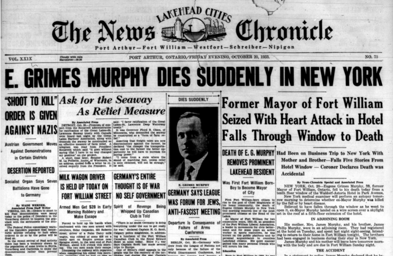 Time Chronicle Port Arthur Ontario - Death of E. Grimes Murphy | Alex Inspired