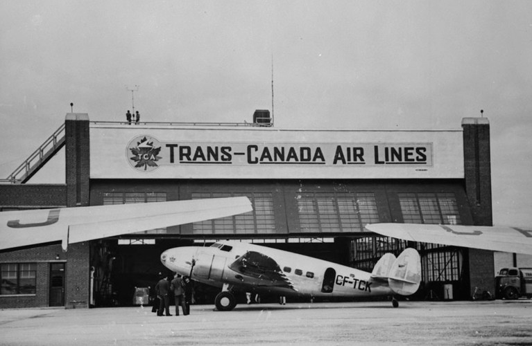 Lockheed 14-H2 aircraft CF-TCK of Trans-Canada Air Lines, Winnipeg, Man., c. 1939. VIA Post Office Department / Library and Archives Canada