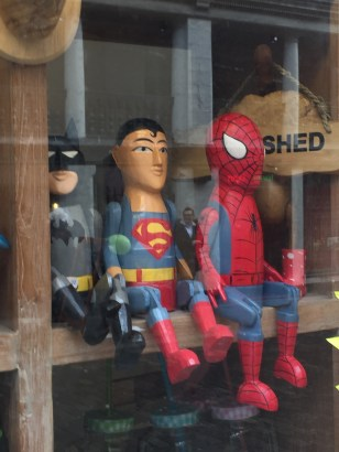 Wooden Batman, Superman & Spiderman