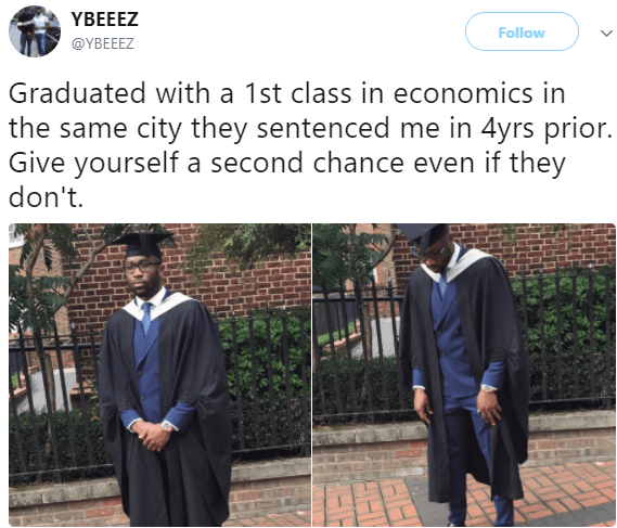 Twitter user graduates with a 1st class in economics from the same city where he was in prison for 4 years