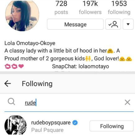 Paul Okoye unfollows Lola Omotayo on IG while Lola is still following him