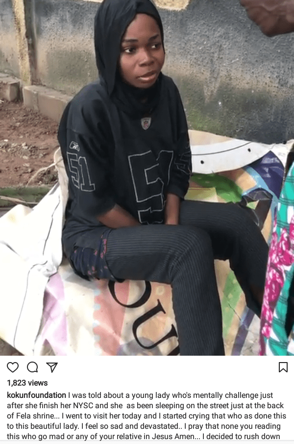 Photos/videos: Pretty young lady goes crazy after her NYSC; now sleeps on the street, behind Fela shrine