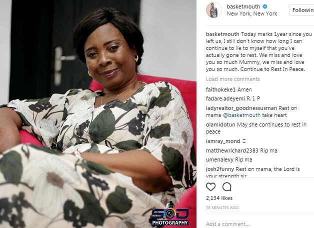 """""""We miss and love you so much Mummy"""" Basketmouth remembers his mom on her death anniversary"""