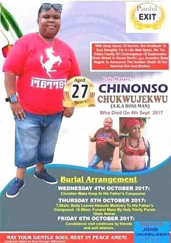 Photos: Nollywood actor, Chinonso Chukwujekwu aka Boss man, laid to rest
