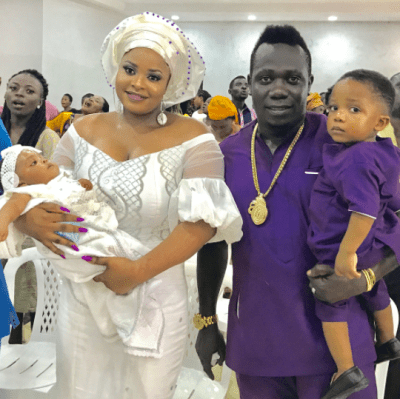 Photos: Duncan Mighty dedicates his second child in church