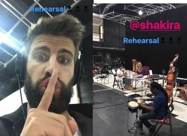 Gerard Pique silences rumours of split from Shakira as he attends her European tour rehearsal (Video)