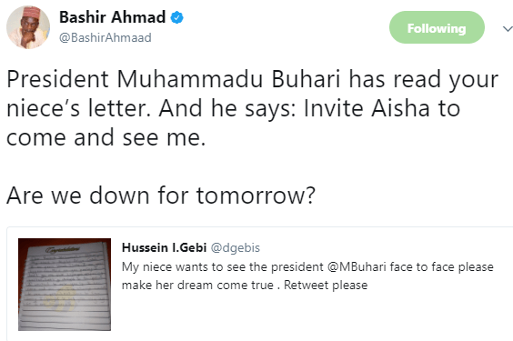 President Buhari invites 10 year old girl who wrote him a letter asking for permission to visit him in the state house, Abuja