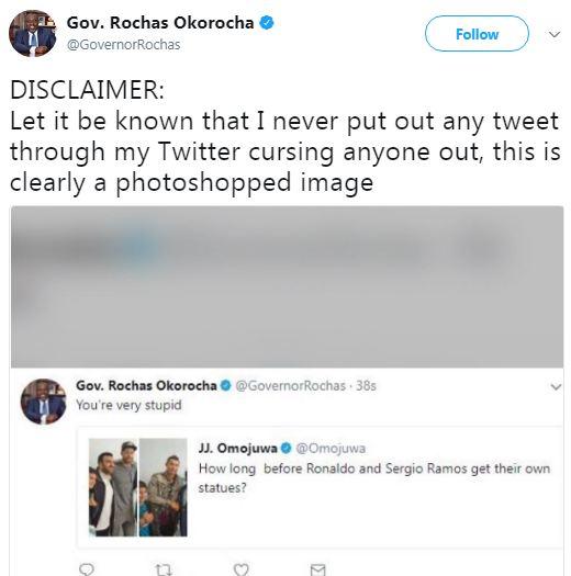 Gov Rochas Okorocha denies cursing out political commentator, Omojuwa on Twitter, says it was photo-shopped