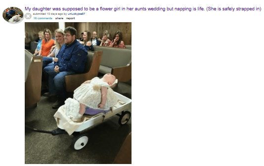 Lol. This little girl was supposed to be a flower girl, but she had other plans for the wedding