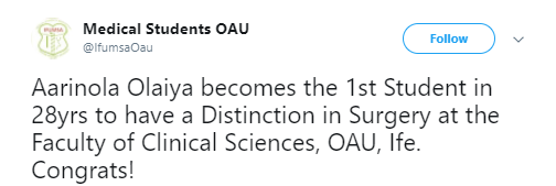 Photos: Meet Aarinola Olaiya - the 1st student in 28 years to bag a distinction in Surgery at the Faculty of Clinical Sciences, OAU