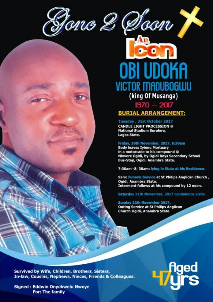 Late Nollywood actor and filmmaker Obi Madubogwo to be buried on November 10?