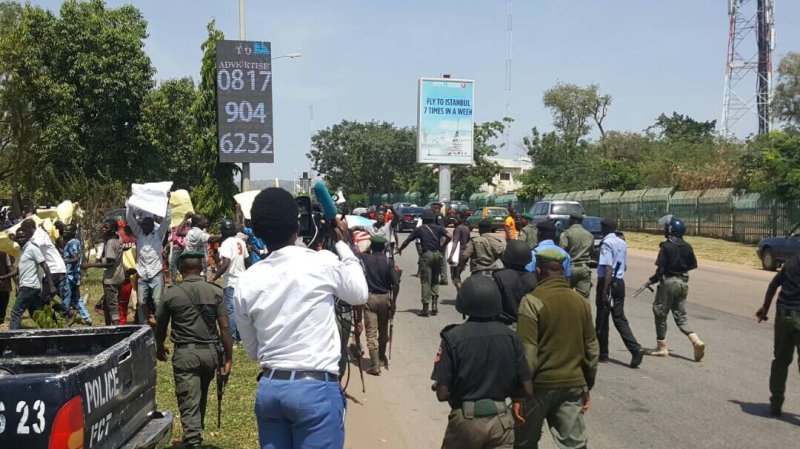 Photos: Nigerians stage protest in Abuja, demand sack of President Buhari