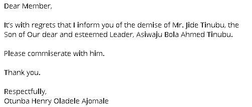 Jide Tinubu, son of APC National leader Asiwaju Bola Tinubu, has died