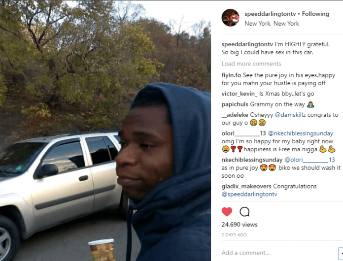 Lol! Speed Darlington gets a new car so big he can have sex in it