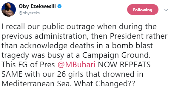 ?This is not leadership?, Oby Ezekwesili condemns President Buhari?s silence on the death of 26 young Nigerian ladies in the Mediterranean sea
