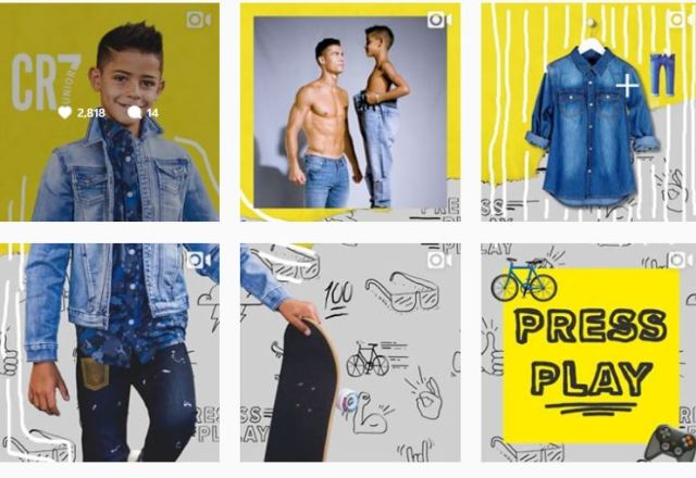 Shirtless Cristiano Ronaldo and son pose in jeans to launch new kids