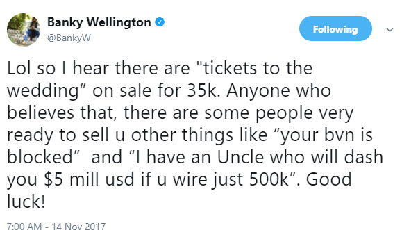 Banky W reacts to rumours that tickets to his wedding is on sale for 35k